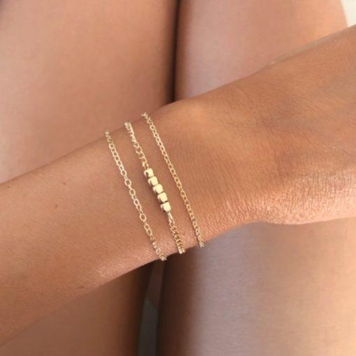 Bracelets tendance 2021- Bracelet Chaine Fine Dore